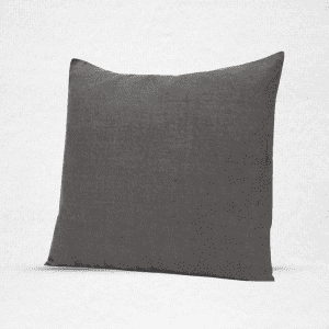 "Linen pillow with plain edge, measures 18""x18"". Color: Granite"
