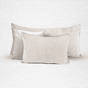 "Velvet pillow, measures 18""x18"". Color: Chalk"