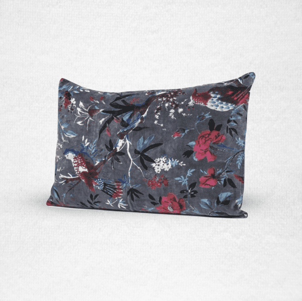 Rectangular velvet pillow with a bird and floral pattern, measures 16'x24'. Color: Granite