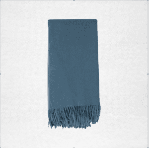 "100% Cashmere woven throw measures 50""x70"". Color: Evening Sky"