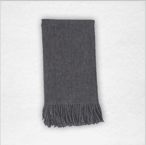 """100% Cashmere woven throw measures 50""""x70"""". Color: Charcoal"""