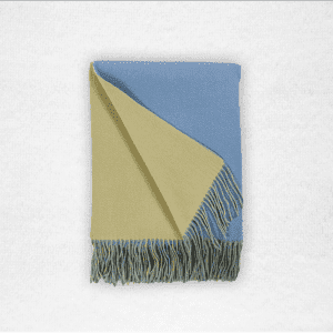 "95% Merino/5% Cashmere double-faced woven throw measures 50""x70"". Color: Carolina Blue/Peridot"