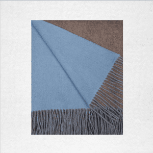 """95% Merino/5% Cashmere double-faced woven throw measures 50""""x70"""". Color: Mushroom/Blue Skies"""