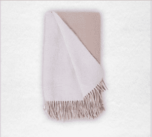 """95% Merino/5% Cashmere double-faced woven throw measures 50""""x70"""". Color: White/Bisque"""