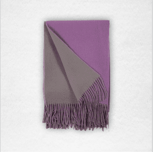 """95% Merino/5% Cashmere double-faced woven throw measures 50""""x70"""". Color: Thistle/Platinum"""