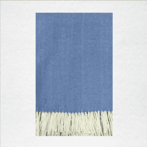 "50% Cotton/50% Acrylic herringbone woven throw measures 50""x70"". Color: Carolina Blue"