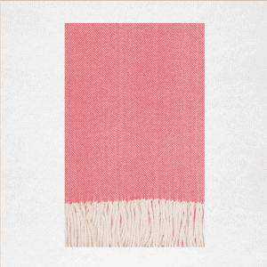 "50% Cotton/50% Acrylic herringbone woven throw measures 50""x70"". Color: Coral Island"