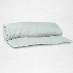 "Linen throwbed with envelope closure measures 33"" x 79"" Color: Celadon"