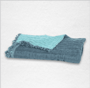"""Oversized linen throw with fringe edging and reversible color, measures 53""""x79"""". Color: Blue/Aqua"""