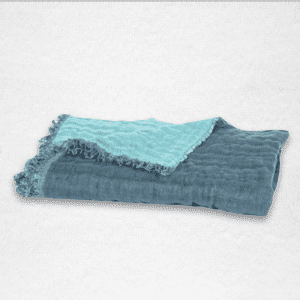 "Oversized linen throw with fringe edging and reversible color, measures 53""x79"". Color: Blue/Aqua"