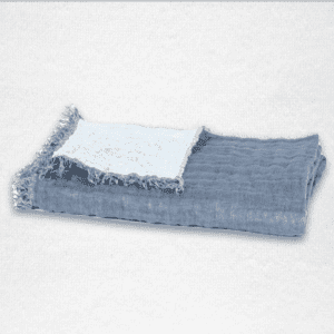 """Oversized linen throw with fringe edging and reversible color, measures 53""""x79"""". Color: Twilight/Glacier"""