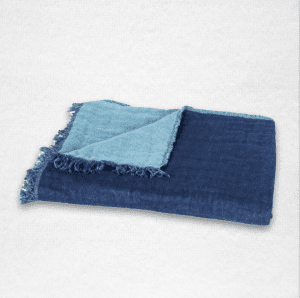 """Oversized linen throw with fringe edging and reversible color, measures 53""""x79"""". Color: Indigo/Sky"""