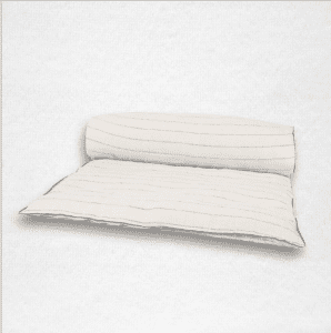 """Linen throwbed with envelope closure measures 33"""" x 79"""" Color: Natural with stripes"""