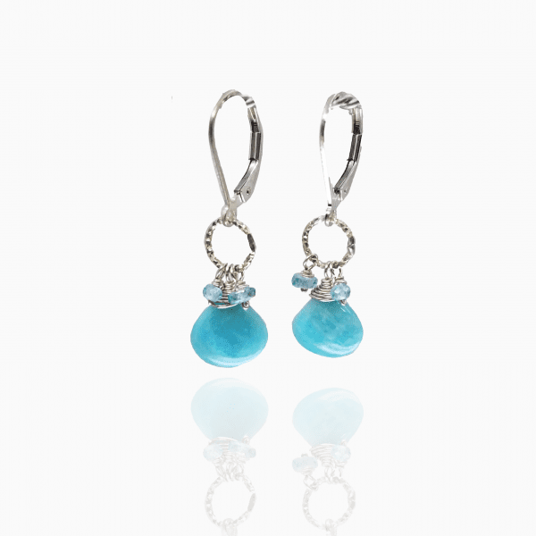 "Amazonite, apatite and blue topaz earrings are finished with a gold-filled, lever back closure. The earrings measure 1.5"" long."