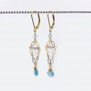 "Small apatite briolettes are hung from small chains with smokey quartz accents with gold-filled, lever back closures. The earrings measure 2"" long."
