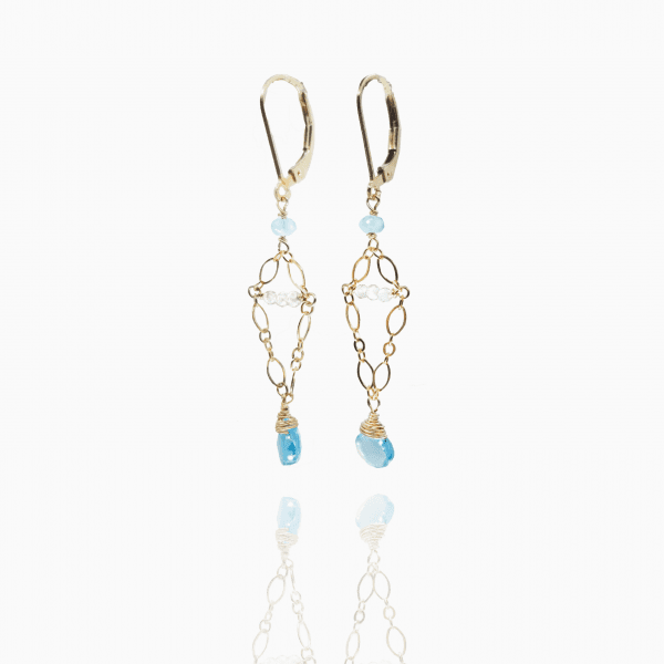"""Small apatite briolettes are hung from small chains with smokey quartz accents with gold-filled, lever back closures. The earrings measure 2"""" long."""